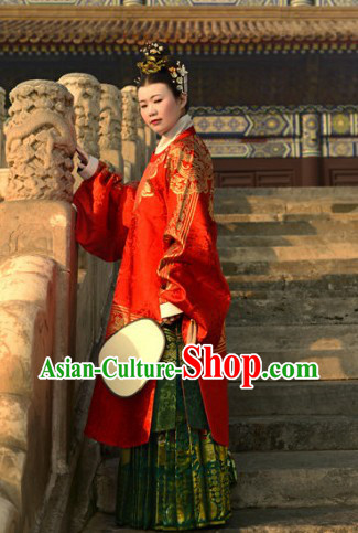 Ancient Chinese Ming Dynasty Red Lady Clothing Complete Set for Women