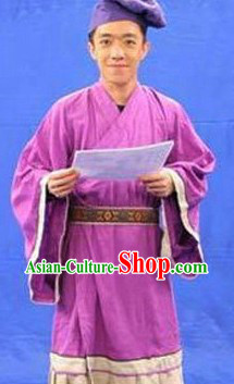 Ancient Chinese Servant Costumes and Hat for Men