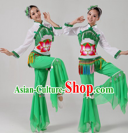 Chinese Ribbon Dance Costume and Headpiece for Women