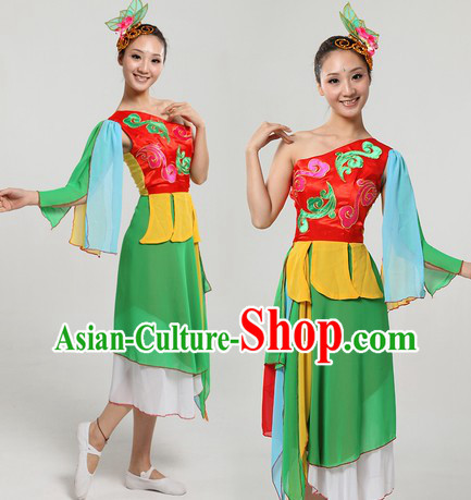 Chinese Classical Dancing Costume and Headpiece for Women