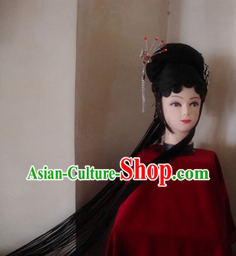 Traditional Chinese Dramatic Huadan Pigtail and Headpiece Set
