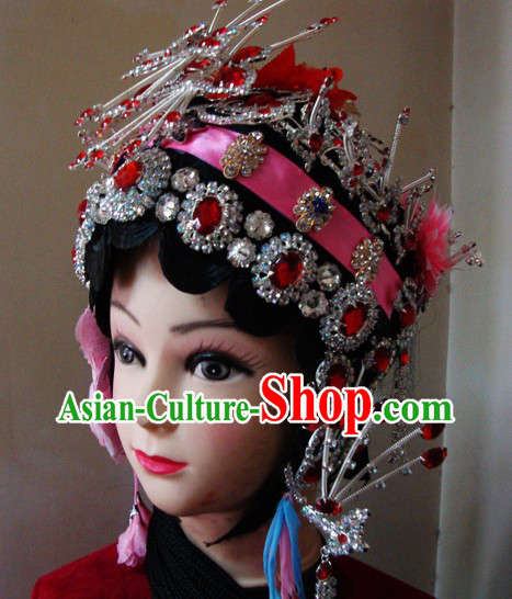 Traditional Chinese Dramatic Long Black Braids and Hair Accessories