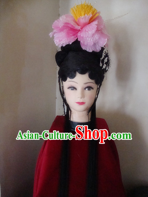 Traditional Chinese Long Black Wig and Headpiece Set