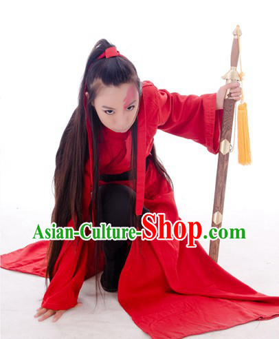 Ancient Chinese Swordsman Red Costumes