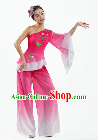 Chinese Classical Fan Dancing Costume and Headpiece for Women