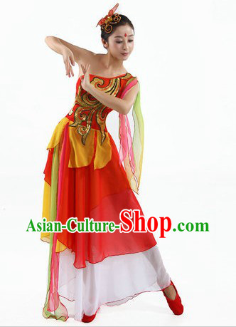 Chinese Classical Fan Dancing Costumes and Headpiece for Women
