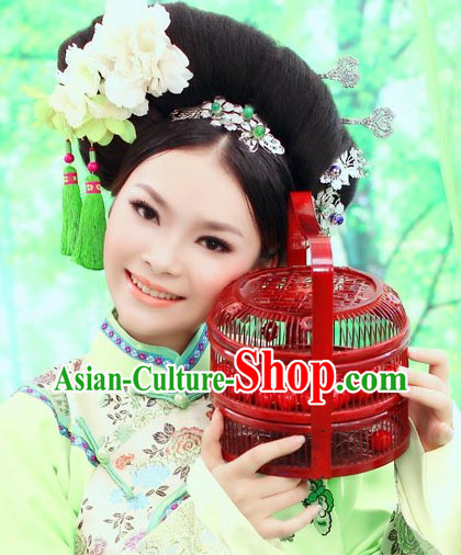 Chinese Classical Beauty Green Hair Accessories and Wig