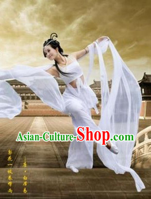 Ancient Chinese Feitian Flying Angel White Costumes and Wig