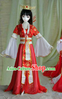 Chinese Royal Red Costumes and Crown