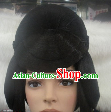 Chinese Classic Female Long Black Wig Complete Set