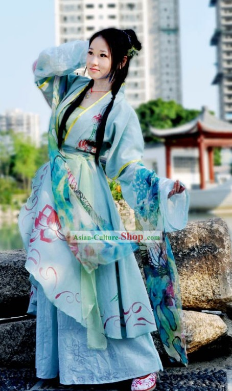 Ancient Chinese Lotus Fairy Lady Costumes