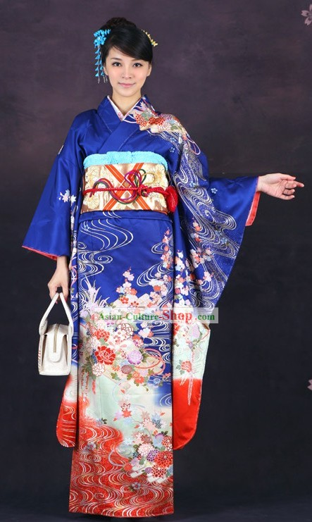Traditional Japanese Blue Furisode Kimono for Women