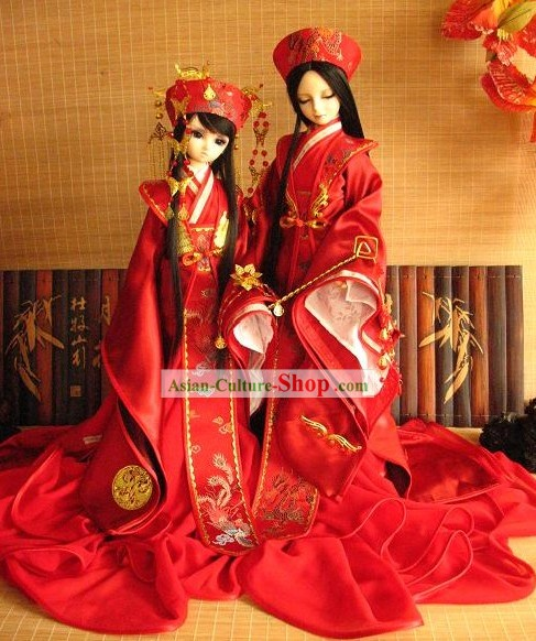 Traditional Chinese Bride and Bridegroom Wedding Dress and Hair Accessories 2 Complete Sets