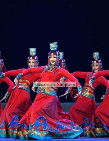 Traditional Mongolian Bowl Dance Costume and Hat for Women