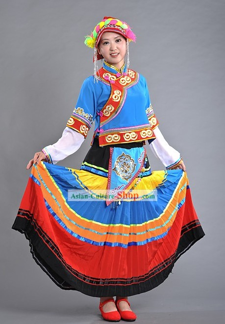 Chinese Yi Nationality Torch Festival Dance Costume and Hat for Women