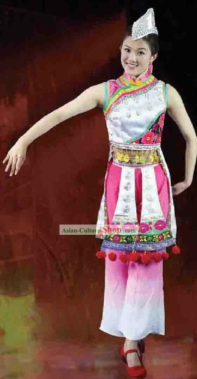 Yi Nationality Torch Festival Dance Costume and Headgear for Women