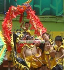 Red Beijing Dragon Dance Costumes Complete Set for Six Nursery School Kids