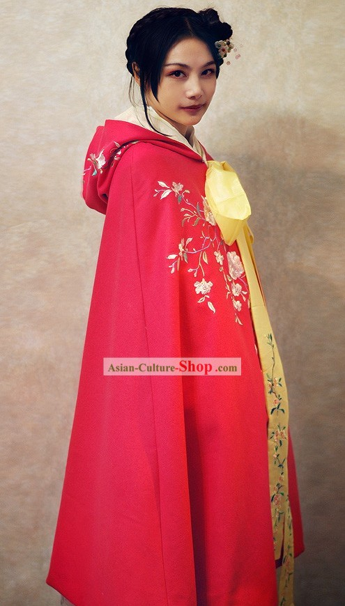 Ancient Chinese Embroidered Flower Princess Royal Cape
