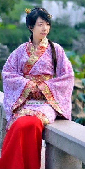 Ancient Chinese Han Dynasty Women Clothing Complete Set