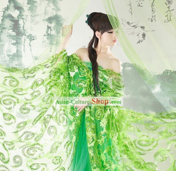 Ancient Chinese Green Beauty Clothing Complete Set