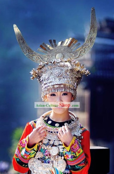 Miao Tribe Female Clothing Silver Hat and Acessories