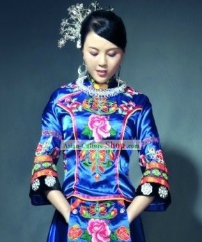 Traditional Chinese Minority Women Embroidered Flower Clothing