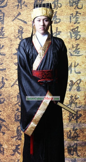 Traditional Chinese Hanfu Clothing and Hat for Men