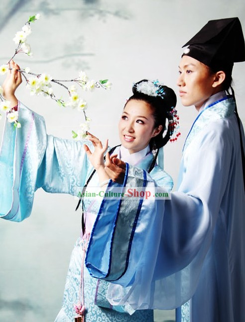 Ancient Chinese Intellectual and His Wife Clothing Two Sets