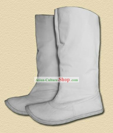Traditional Handmade Han White Boots for Men