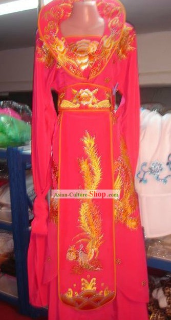 Ancient High Collar Embroidered Phoeix Empress Costume