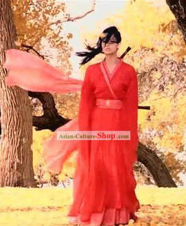 Filk Hero Ancient Chinese Red Knight Hanfu Clothing for Women