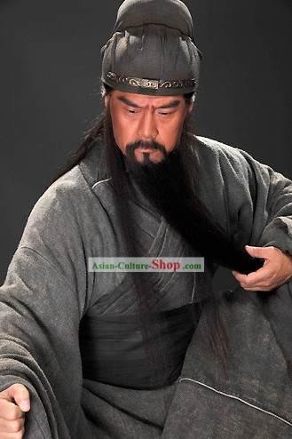 Three Kingdoms Guan Yu Hero Costumes and Hat Complete Set for Men