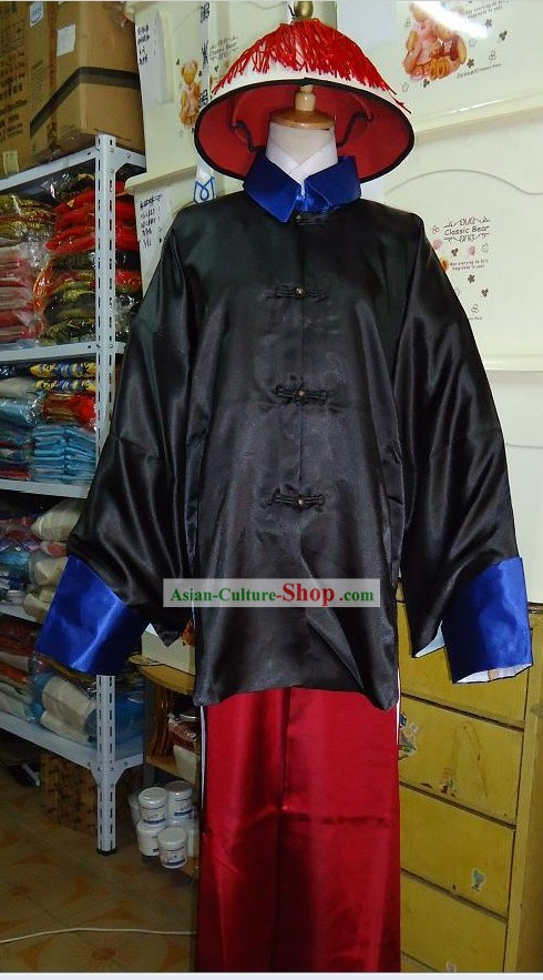 Qing Dynasty Palace Guard Costume and Hat Complete Set for Men