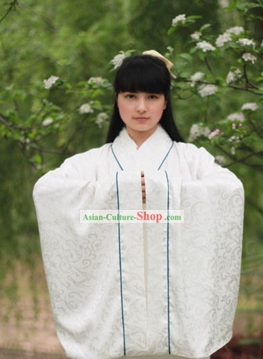 Traditional Chinese White Hanfu Clothing Complete Set for Men or Women