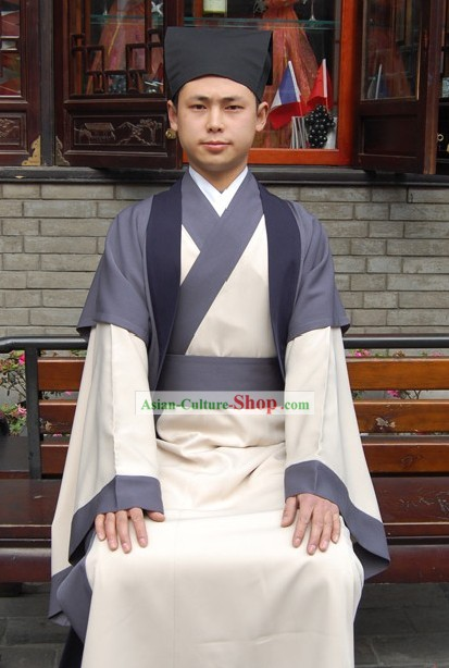 Ancient Chinese Zhiju Hanfu Clothing and Hat for Men