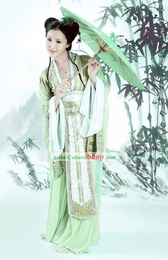 Ancient Chinese Green Lady Costume and Umbrella Complete Set