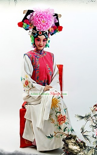 Chinese Beijing Opera Princess Costumes and Headpiece Complete Set
