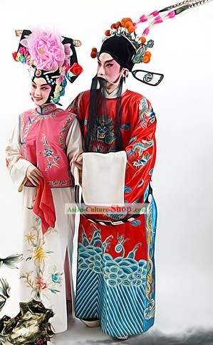 Chinese Beijing Opera Costumes and Headpiece for Men and Women