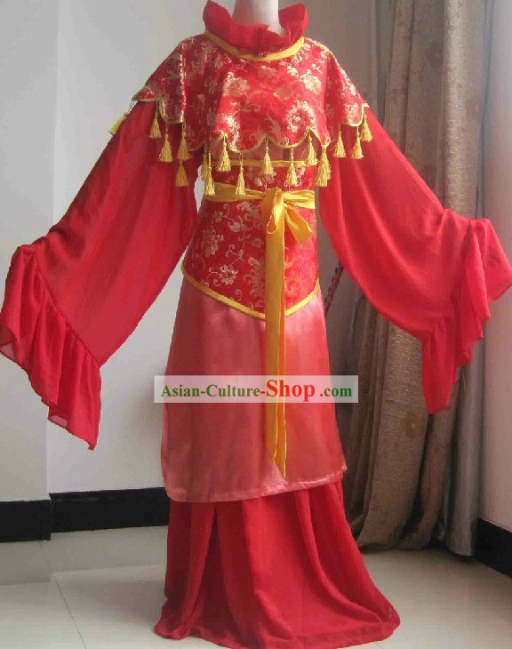 Chinese Classical Red Wedding Dress with Yellow Tassels