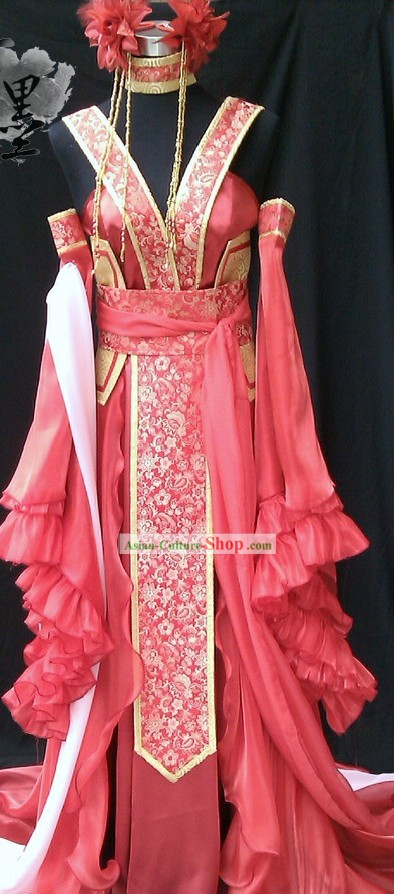 Chinese Princess Red Cosplay Costumes and Hair Accessories Complete Set
