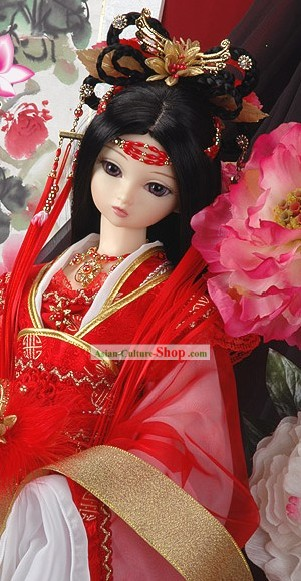 Chinese Classic Lucky Red Princess Wedding Hair Accessories and Wig