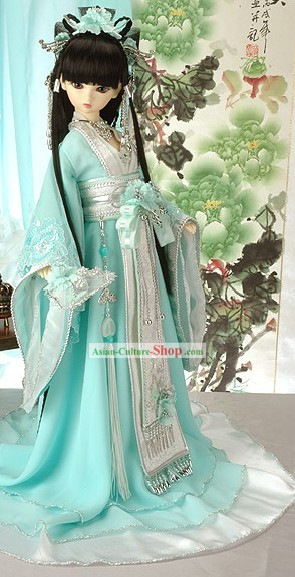 Ancient Chinese Light Blue Princess Clothing, Wig and Hair Accessories Complete Set