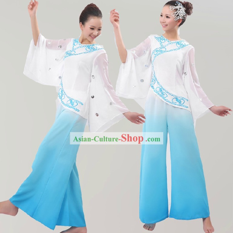 Chinese White and Blue Fan Dance Costumes for Women