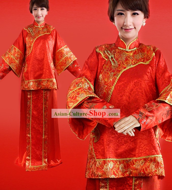 Chinese Classical Red Phoenix Wedding Dress for Bride