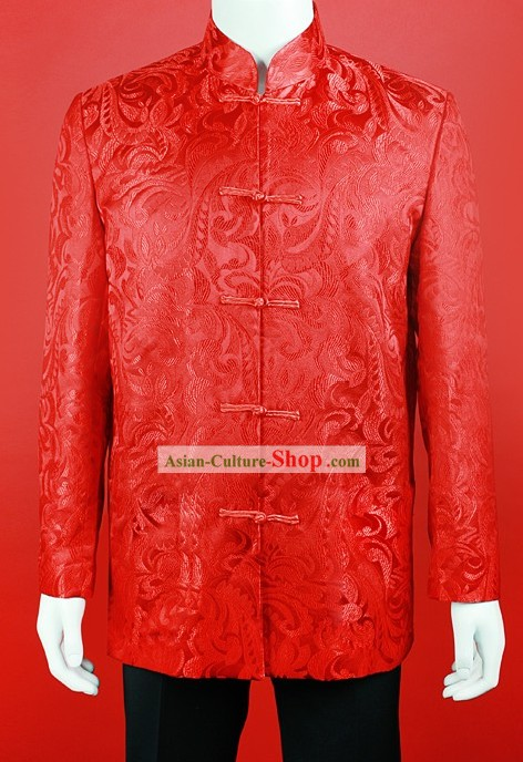 Traditional Chinese Red Wedding Blouse for Bridegrooms