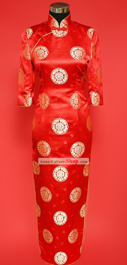 Stunning Red Tang Wedding Cheongsam for Brides