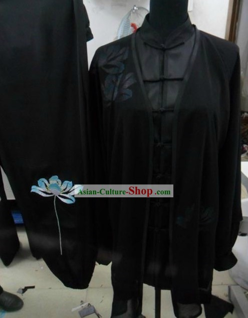 Professional Black Silk Tai Chi Men Suit