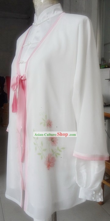 White Flower Silk Kung Fu Blouse and Cape