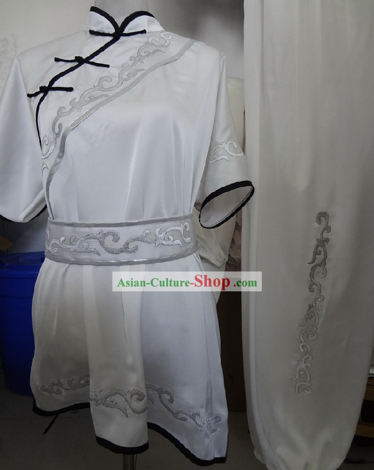 Traditional Silk White Martial Arts Competition Uniform