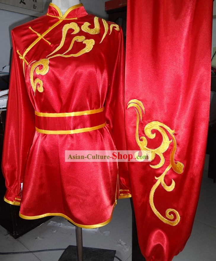 Supreme Silk Red Martial Arts Wushu Competition Winner Uniform